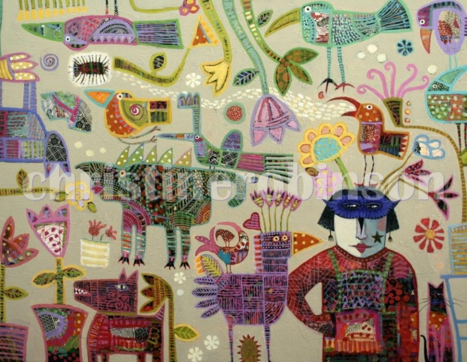 'Keeper of the Garden I' - For Sale - Mixed Media on Linen -90x70cm - $2900